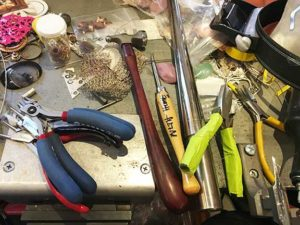 Jewelry making tools on my bench